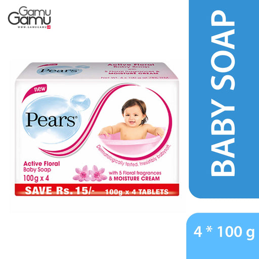 Pears Active Floral Baby Soap | 4 x 100 g,Personal Care - GamuGamu.lk