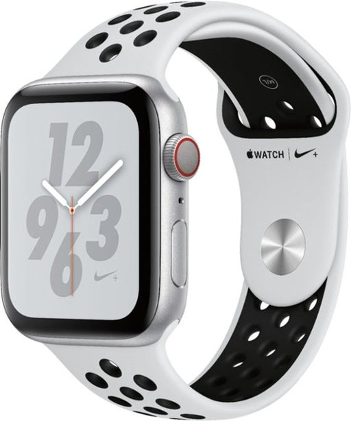 Apple - Apple Watch Nike+ Series 4 (GPS + Cellular) 44mm Silver Aluminum Case with Pure Platinum/Black Nike Sport Band - Silver Aluminum,[product_type] - GamuGamu.lk