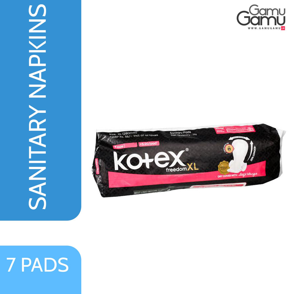 Kotex Freedom XL Dry Cover with Soft Wings | 7 Pads,Personal Care, Unilever International - gamugamu.lk