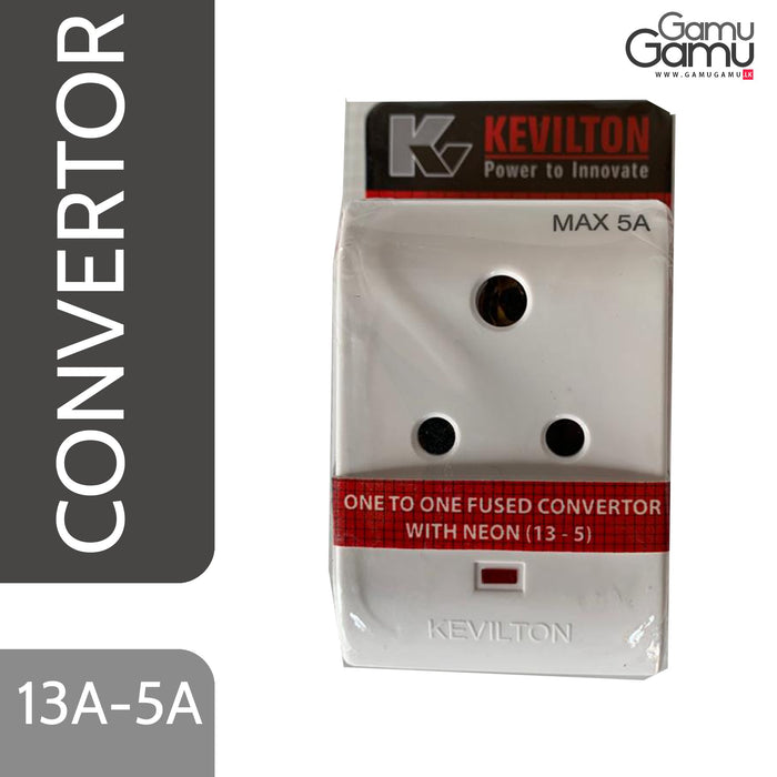 Kevilton One-to-One Fused Convertor with Neon | 13A - 5 A-GamuGamu.lk