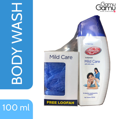 Lifebuoy Mild Care Body Wash with Free Loofah | 100 ml,Personal Care, Unilever - gamugamu.lk