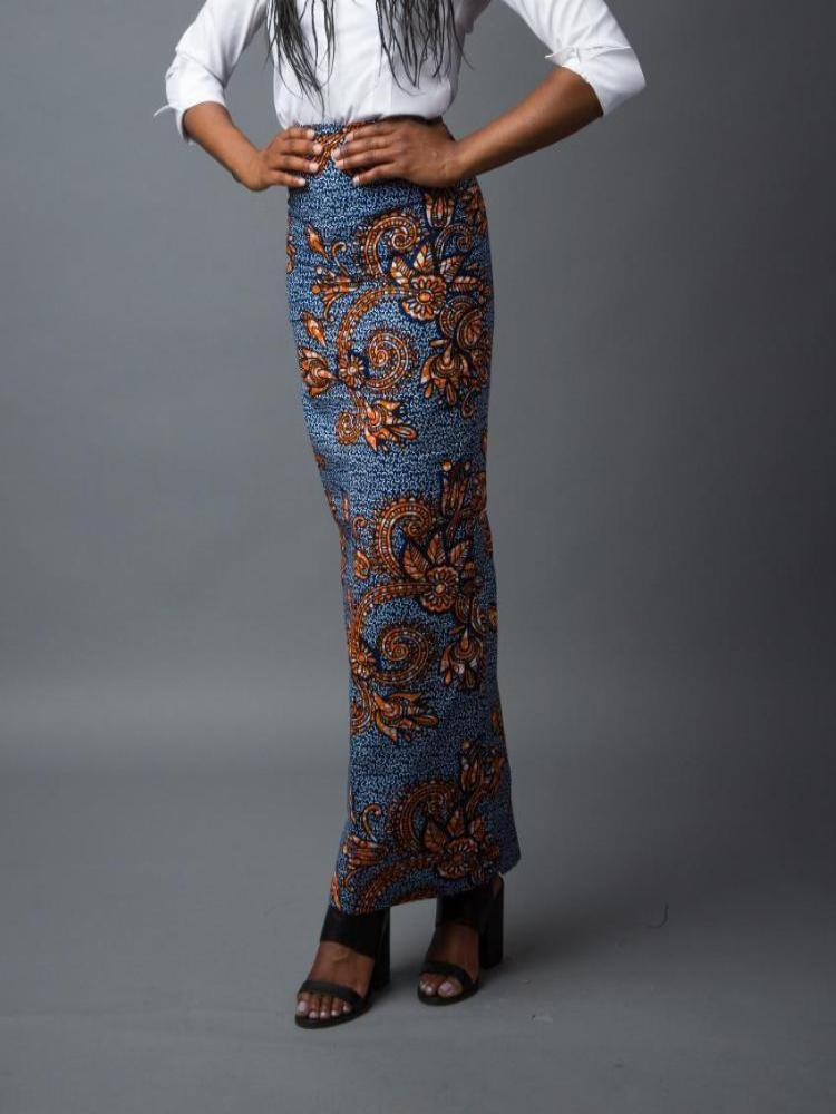 African print long pencil skirt