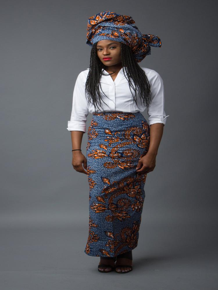Blue long African print pencil skirt