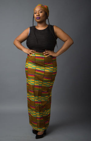 Kente African Print Long Pencil skirt