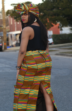 Long African Print Kente skirt
