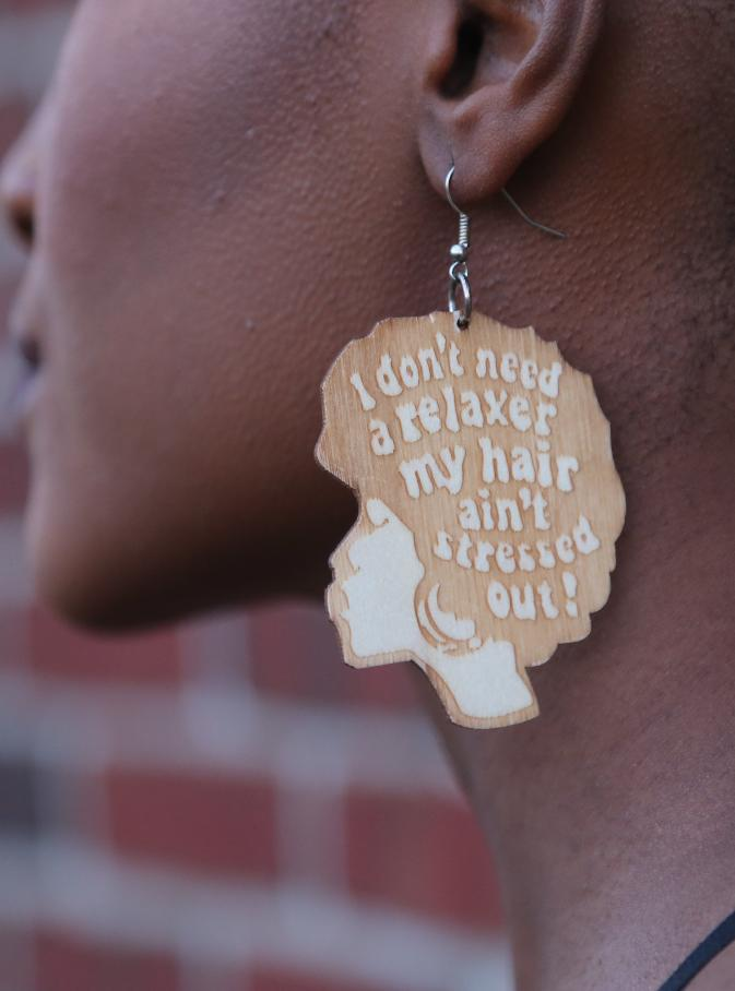 Wooden natural hair earrings