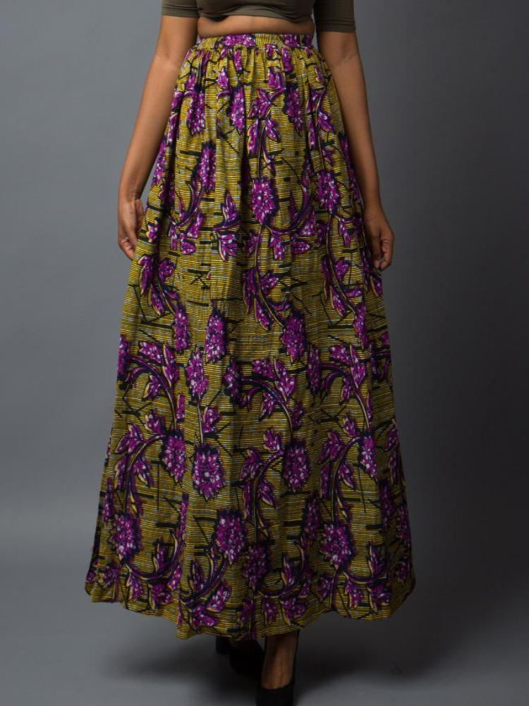Yellow purple African print maxi skirt