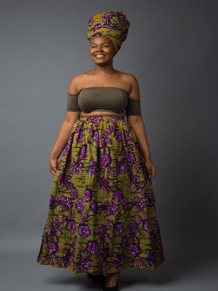 African print floral maxi skirt