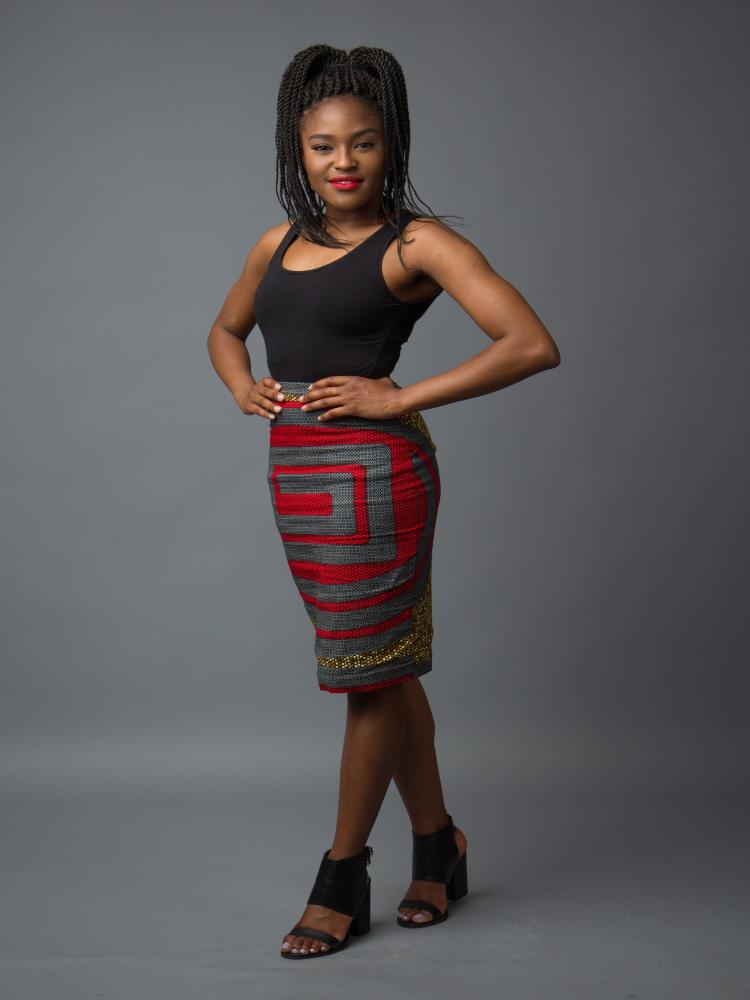 African print pencil skirt with grey, gray, red, and yellow mustard colors.  High quality premium ankara