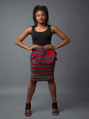 African print pencil skirt with grey, gray, red, and yellow mustard colors.  High quality premium ankara featuring a peplum belt.