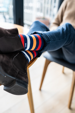 Banners crew socks with boots | dstinctive