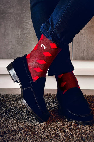 personalized socks with red rhombuses   dstinctive