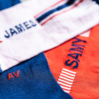 Close up of socks showing quality and personalization