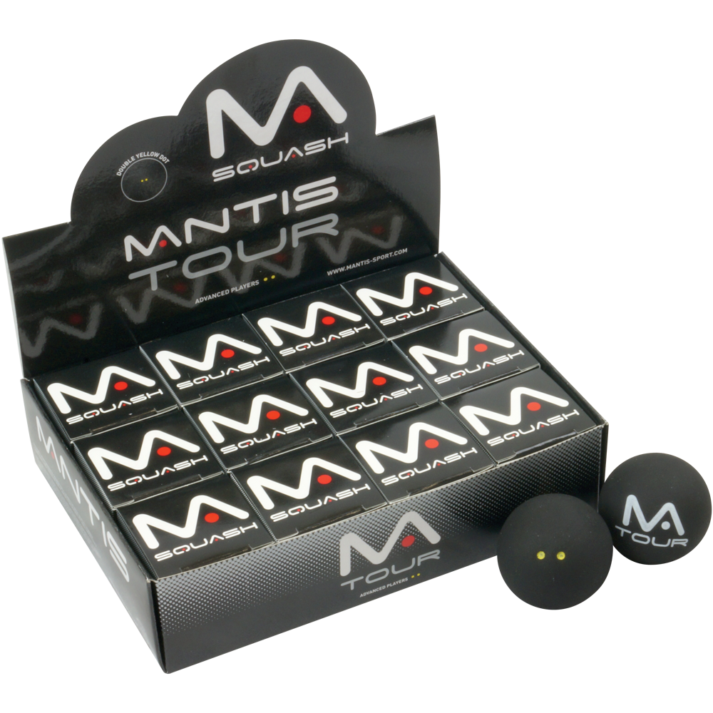 MANTIS Premium Double Yellow Dot Squash Balls