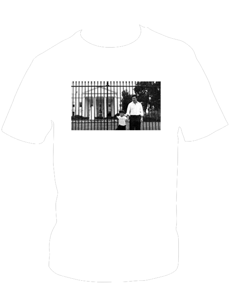 'Illegal Business Controls America' Pablo Escobar White House Photo T-Shirt (White)