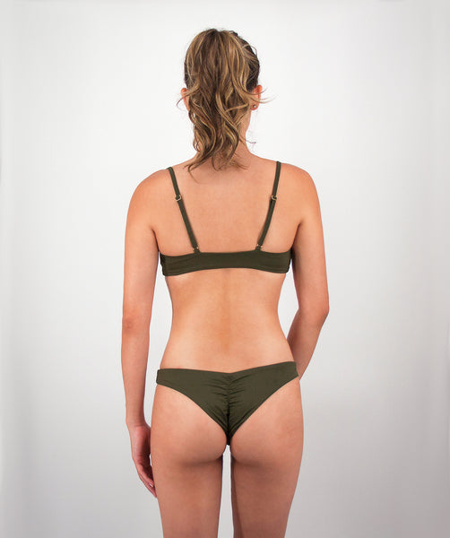 Leilani Cheeky Scrunch Bikini Bottom in Forest Green