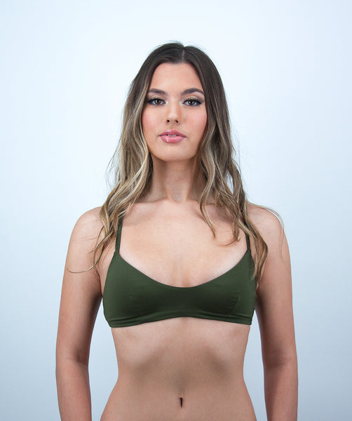 Leilani Bralette Bikini Top in Forest Green
