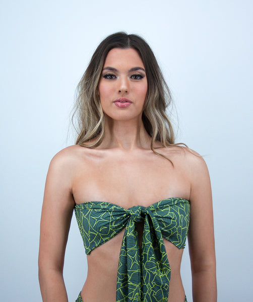 Mira Reversible Bandeau Bikini Top in Jungle Print