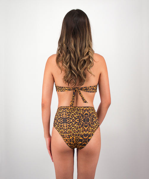 Rhys High Waisted Bikini Bottom in Leopard Print