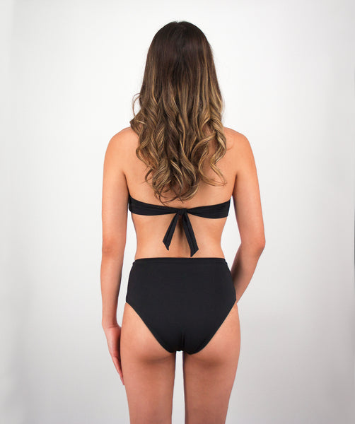 Rhys High Waisted Bikini Bottom in Midnight Black