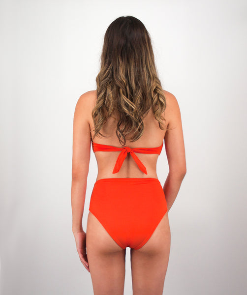 Rhys High Waisted Bikini Bottom in Reef Orange