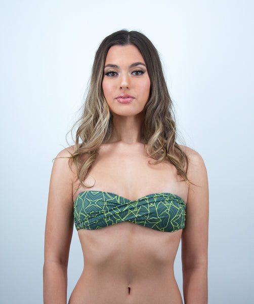 Rhys Twisted Bandeau Bikini Top in Jungle Print