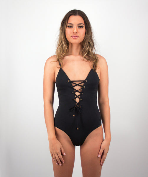 Savannah Lace Up One Piece Swimsuit in Midnight Black