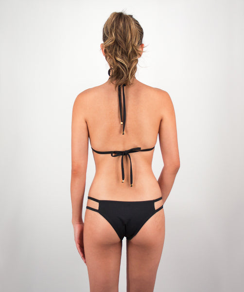 Valeria Two Strap Bikini Bottom in Midnight Black