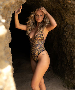 Top selling swimsuit, Gisele Sexy One Piece Swimsuit with High Cut Thigh and Cheeky Butt in Leopard Print