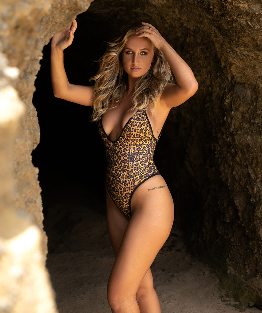Gisele Sexy One Piece Swimsuit with High Cut Thigh and Cheeky Butt in Leopard Print