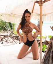 Load image into Gallery viewer, Noa Kai Kiana One Piece in Leopard and Midnight Black Swimsuit