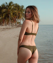 Load image into Gallery viewer, Leilani Cheeky Scrunch Butt Bikini Bottom in Forest Green