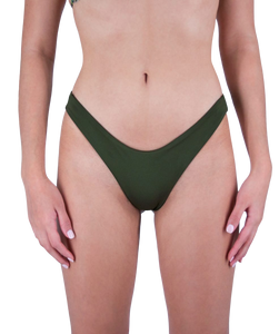 Mira High Cut Bikini Bottom in Forest Green
