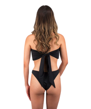 Load image into Gallery viewer, Mira Reversible Bandeau Bikini Top in Midnight Black
