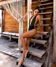 Load image into Gallery viewer, Noa Kai Moani One Piece in Forest Green and Midnight Black Swimsuit