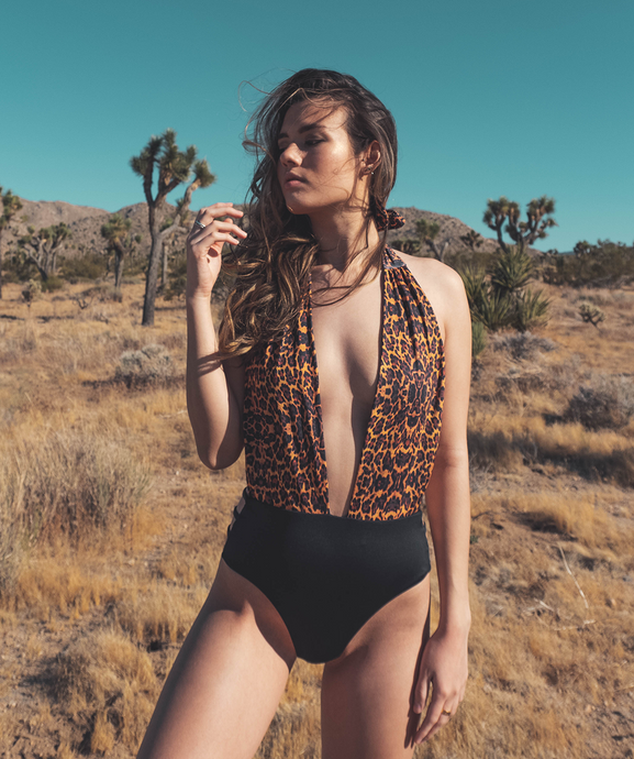 Noa Kai Moani One Piece in Leopard and Black Swimsuit
