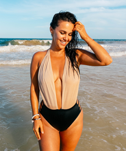 Load image into Gallery viewer, Noa Kai Moani One Piece in Nude and Black Swimsuit