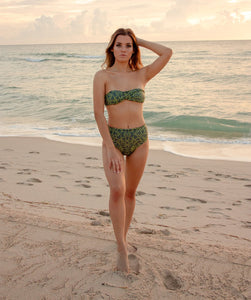 Rhys High Waisted Bikini Bottom in Jungle Print