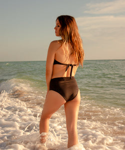 Rhys Classic High Waisted Bikini Bottom in Midnight Black