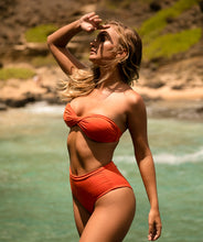 Load image into Gallery viewer, Rhys Classic Twisted Bandeau Bikini Top in Reef Orange