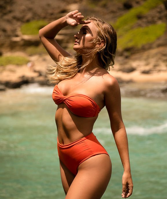 Rhys Classic Twisted Bandeau Bikini Top in Reef Orange