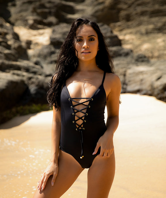 Classic Savannah One Piece Lace Up Swimsuit in Sophisticated Midnight Black