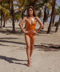 Savannah One Piece Lace Up Swimsuit in Sunset Yellow