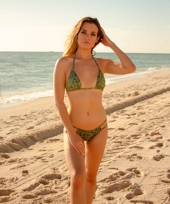 Valeria Classic Triangle Bikini Top in Jungle Print