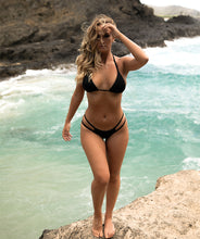 Load image into Gallery viewer, Valeria Classic Low Waist Two Strap Bikini Bottom in Midnight Black