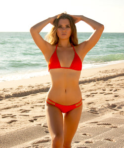 Valeria Classic Low Waist Two Strap Bikini Bottom in Reef Orange