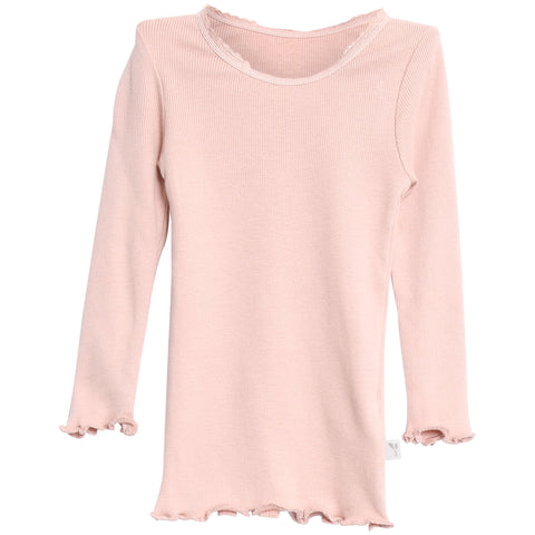 Rib T-shirt Lace LS Rose Powder