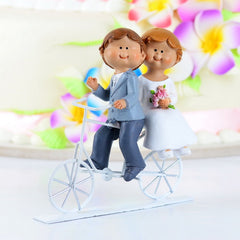 Cycling Couple Wedding Cake Topper 2