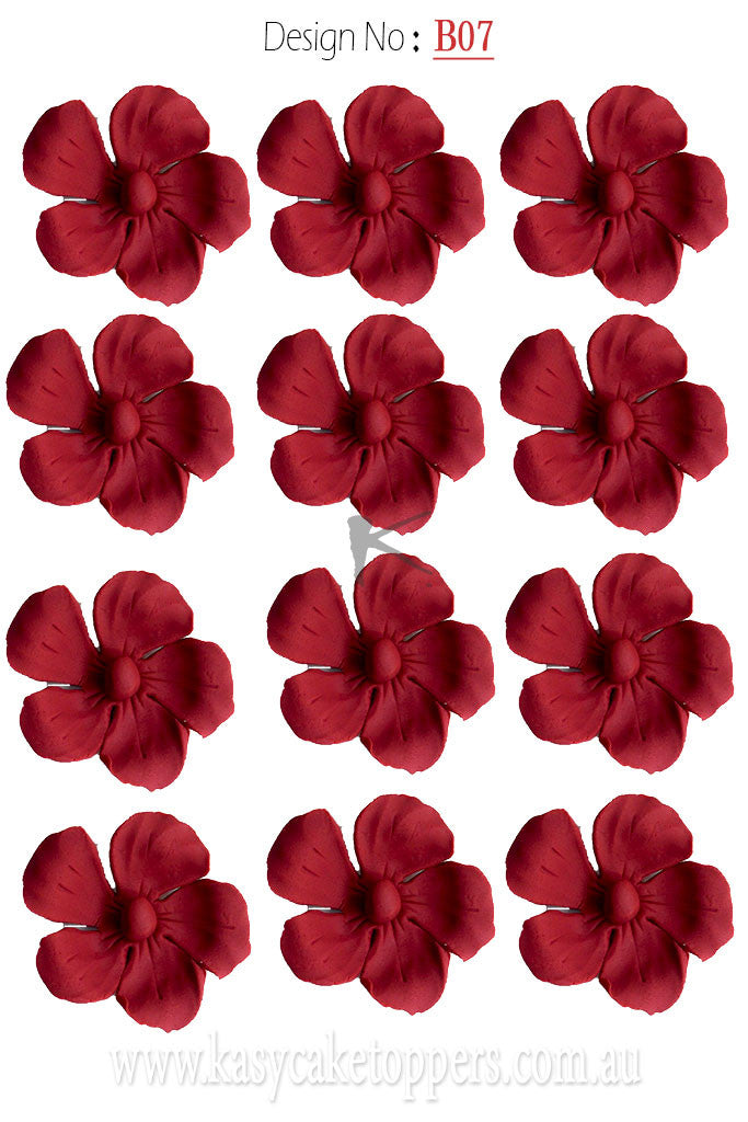 Edible red flower toppers