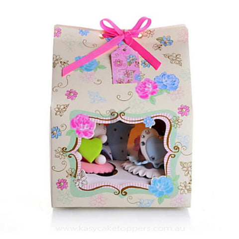 Floral Card Paper Cupcake Favor Box With Bow 120pcs